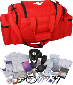 Red 200 Pcs Emergency Medical Trauma Kit Carry Bag First Aid Supplies Emt Ems