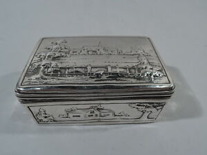 Georgian Box Antique W Pastoral Scenes Landscapes English Sterling Silver