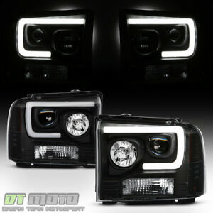 Black 2005 2006 2007 Ford F250 F350 F450 Superduty Led Tube Projector Headlights