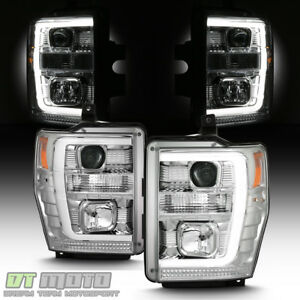 2008 2009 2010 Ford F250 F350 F450 Led Light Tube Projector Headlights Headlamps