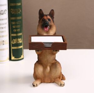 Desktop German Shepherd Dog Figurine Business Card Holders Case Decorative Resin