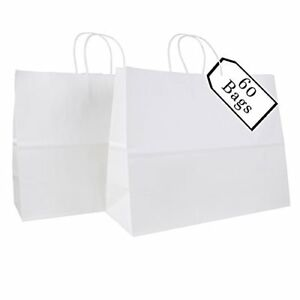 16x6x12 Kraft Paper Bags With Handles Grocery Shopping Retail Store 60 Count Lot