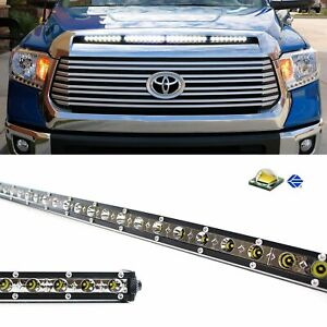 108w 36 Led Light Bar W Hood Scoop Bulge Mounting Wiring 14 20 Toyota Tundra