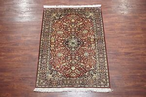 Persian 4x6 Sarouq Antique Hand Knotted Wool Area Rug Oriental Carpet 4 1 X 6 1