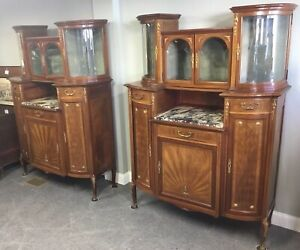 Beautiful Pair Of Antique French Bronze Mounted Marquetry Inlay Cabinets
