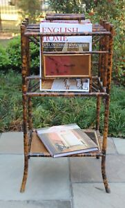 Antique English Bamboo Lacquer Chinoiserie Magazine Rack Book Holder Canterbury