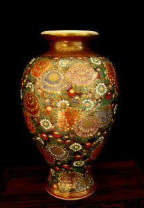 8 3 4 Marked Japanese Meiji Period Green Base Thousand Flower Satsuma Vase