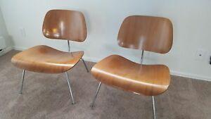 Eames Herman Miller 1950s Mid Century Modern Molded Wood Lounge Chairs