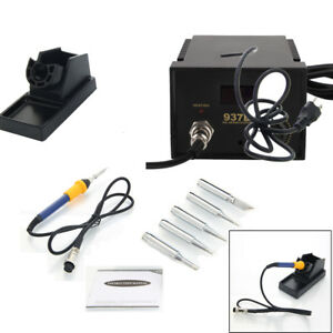 Rework Soldering Station Heater Iron Welding Solder Smd Tool 5 Tips Esd 937d