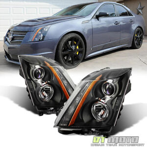Black 2008 2014 Cadillac Cts Factory Style Headlights Headlamps 08 14 Left Right