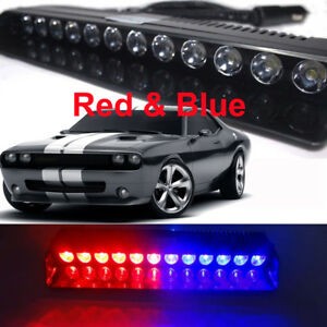 Blue Red 12 Led Strobe Warning Light Bar Car Emergency Flashing Dash Deck Lamp