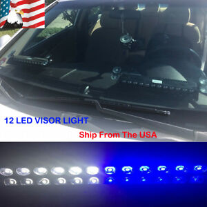 Blue White 12 Led Strobe Warning Visor Light Bar Emergency Dash Deck Flash Lamps