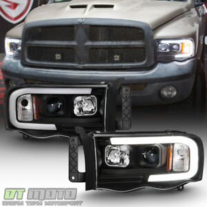 Black 2002 2005 Dodge Ram 1500 2500 3500 Led Tube Projector Headlights Headlamps
