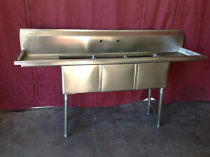 New 3 Compartment Sink 18x18 Bowl Nsf Stainless Steel Drains 7005 Commercial