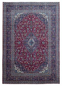 9 X13 Semi Antique Red And Blue Persian Kashan Large Oriental Rug