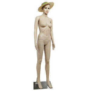 Female Mannequin Plastic Display Full Body Head Turns Dress Form W Iron Base
