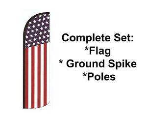 Usa Windless Swooper Flag 15 Kit Feather American Banner Sign On Sale