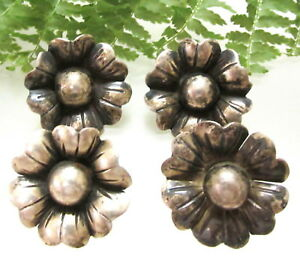 Set Of 4 Old Taxco Mexican Sterling Flower Buttons R89