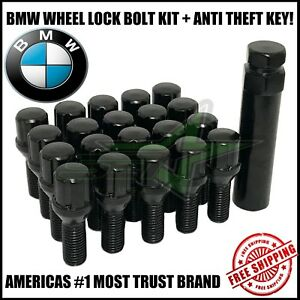 20 Bmw Black Lug Bolt Wheel Locks Key 12x1 5 For M3 M5 335 135 E46 1 10 Tall