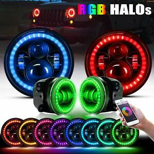 7 Led Rgb Halo Headlights Fog Light Combo Kit For Jeep Wrangler Jk 2007 2017
