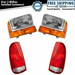 Headlight Parking Marker Lamp Tail Light Set Of 6 For 99 00 Ford Super Duty New