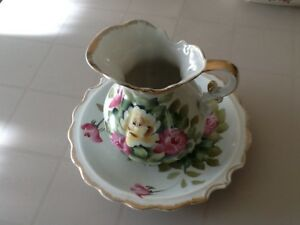 Vintage Pitcher And Bowl Set Lovely Rose Floral Design