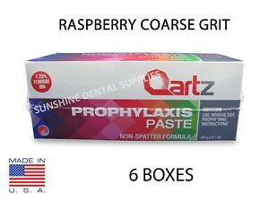 6 Boxes Qartz Prophy Paste Cups Raspberry Coarse 200 box Dental W flouride