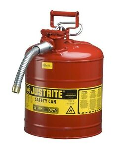 Galvanized Steel Gas Can 5 Gallon Flexible Metal Spout Red Fuel Tank Flame Arest