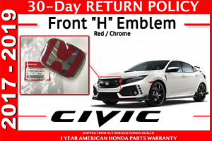Genuine Oem Honda Civic 5dr Type R Front Grille H Emblem 2017 2018 Hatchback Red