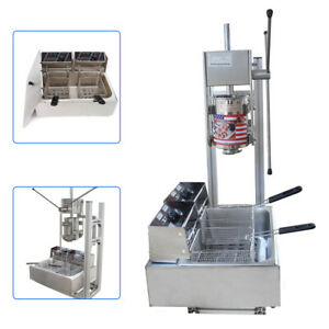 New Commercial 3l Vertical Manual Spanish Donut Churro Machine 5kw W 12l Fryer