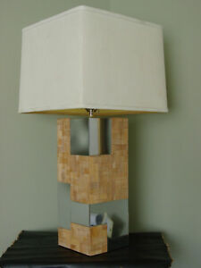 Paul Evans Cityscape Table Lamp Original Vintage Rattan Mid Century Modern Light