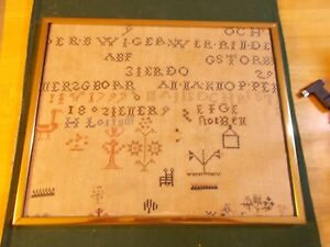 Dated 1793 1797 And 1802 Sampler From Amish Pennsylvana With Flowers Bird Chair