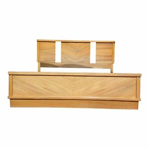 Vintage 1950 S Mid Century Modern Art Deco Style Double Full Bed Frame