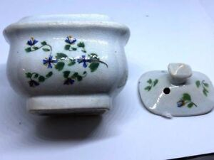 Early Softpaste Blue Glazed Hand Painted Mini Covered Suger Bowl