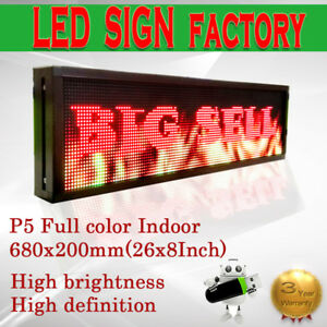 8 x 26 Full Color Video P5 Hd Led Sign Programmable Scrolling Message Display