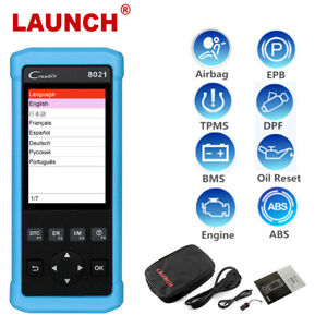 Launch X431 Cr8021 Obd2 Diagnostic Scanner Abs Srs Epb Bms Tpms Dpf Oil Reset Us