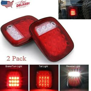 2x Truck Trailer Led Stop Brake Turn Tail Light For Jeep Wrangler Jk Tj Cj Yj Us