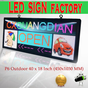 Outdoor P6 Full Color Led Sign 40 x18 Support Scrolling Text Led Display
