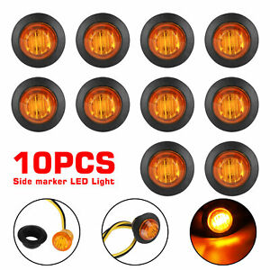 10pcs Amber 3 4 Mini Round Led Side Marker Lights For Truck Ford Suv Adornment