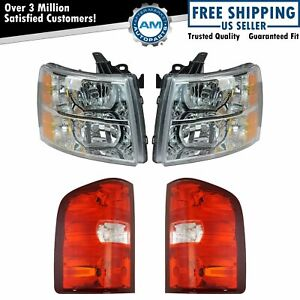 Headlight Tail Light Lamp Kit Set Of 4 For 07 14 Chevy Silverado Truck New