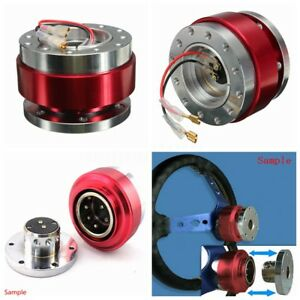 Universal Car Red Steering Wheel Quick Release Hub Adapter Snap Off Boss 6 Hole