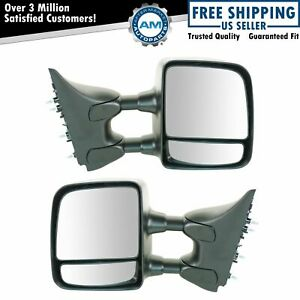 Towing Mirror Manual Textured Black Pair Set Of 2 For Nissan Titan Xe S New