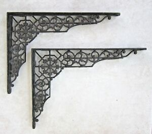 Vintage Pair 12 X 9 Black Cast Iron Ornate Shelf Brackets Door Arch Decorative