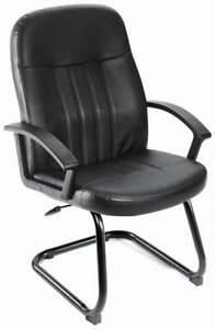 Mid back Guest Chair In Black W Arms Lumbar Support Sled Base id 10251