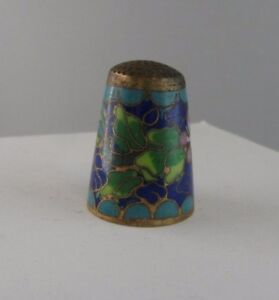 J112 Old Foxglove With Flower And Sheets Enamel Old Thimble Enameled
