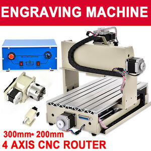 4 Axis 300w Cnc Router 3020 Engraver Engraving Machine Carving 3d Cutter Us Ksb
