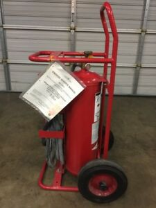 Amerex 495 Type Abc 50lb Wheeled Dry chemical Fire Extinguisher W 25ft Hose