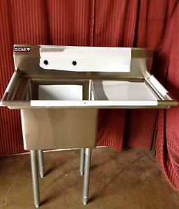 New 18x18 1 Compartment Food Prep Sink Right Drain Board Stainless Nsf 7001