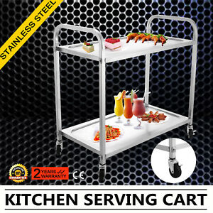 Kitchen Stainless Steel Serving Cart Utility Trolley Storage Shelf Office Great