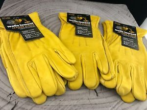 Wells Lamont Premium Cowhide Leather Work Gloves 3 Pair Pack Size Large